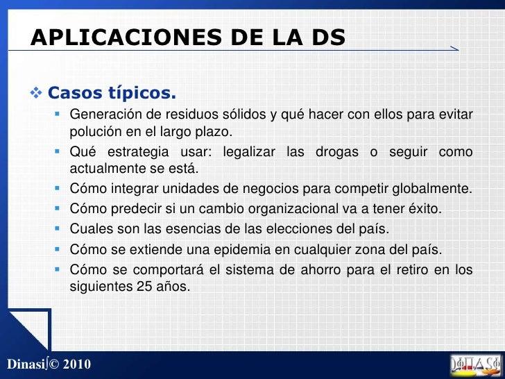 APLICACIONES DE LA DS<br />Casos típicos.<br />Generación de residuos sólidos y qué hacer con ellos para evitar polución e...