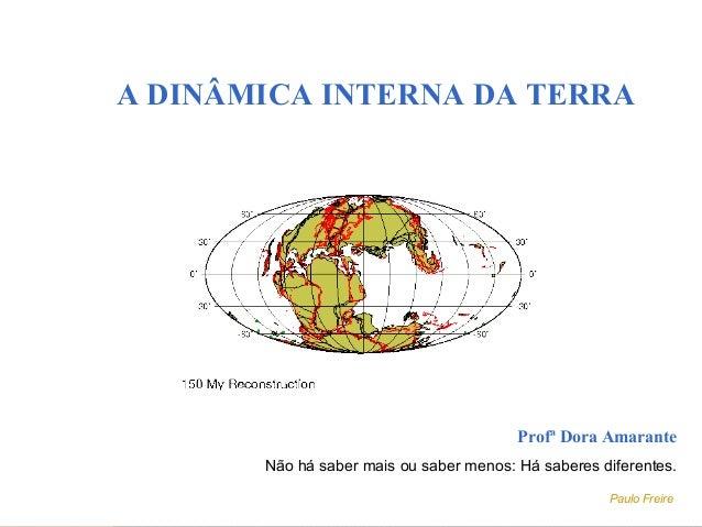 A DINÂMICA INTERNA DA TERRAProfª Dora AmaranteNão há saber mais ou saber menos: Há saberes diferentes.Paulo Freire