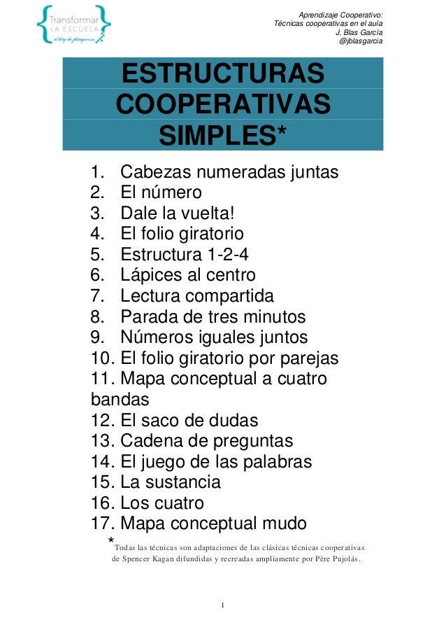 Aprendizaje Cooperativo: Técnicas cooperativas en el aula J. Blas García @jblasgarcia 1 ESTRUCTURAS COOPERATIVAS SIMPLES* ...