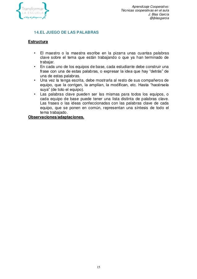 Aprendizaje Cooperativo: Técnicas cooperativas en el aula J. Blas García @jblasgarcia 15 14.EL JUEGO DE LAS PALABRAS Estru...