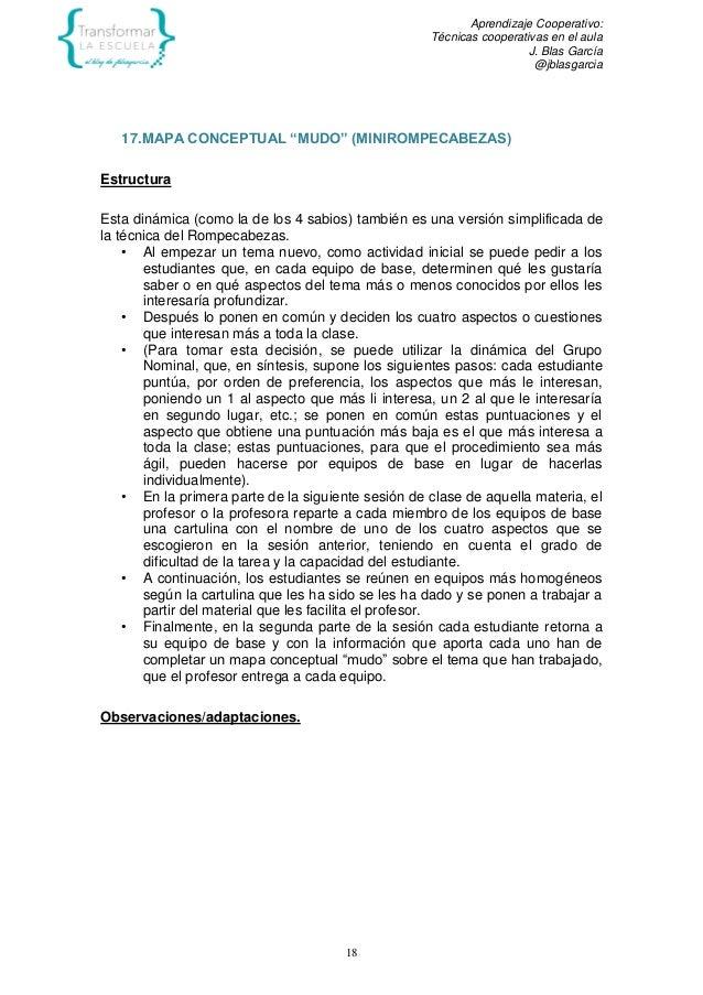 """Aprendizaje Cooperativo: Técnicas cooperativas en el aula J. Blas García @jblasgarcia 18 17.MAPA CONCEPTUAL """"MUDO"""" (MINIRO..."""