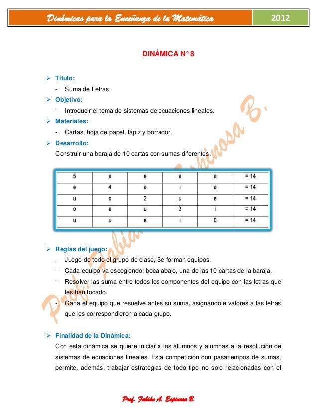 Dinámicas de matemática
