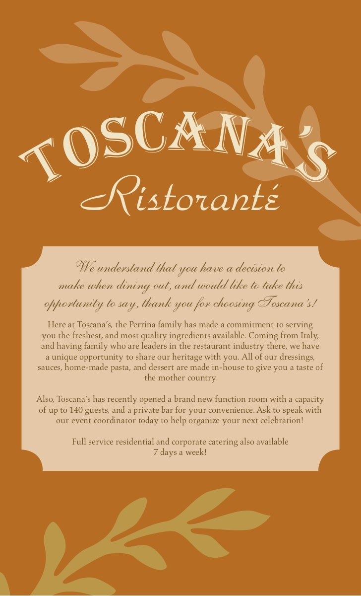 Ristoranté       We understand that you have a decision to    make when dining out, and would like to take this  opportuni...