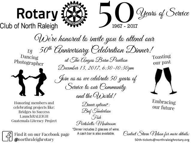 50th anniversary dinner celebration dinner invitation 50th anniversary dinner celebration dinner invitation years of service 501967 2017club of north raleigh were honored to invite you stopboris Image collections