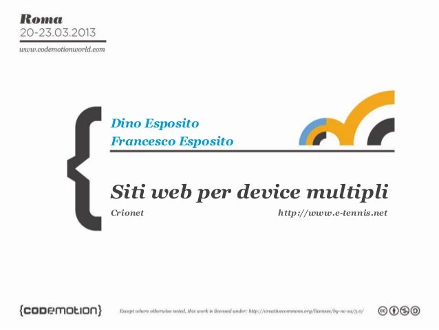 Siti web per device multipliDino EspositoFrancesco EspositoCrionet http://www.e-tennis.net