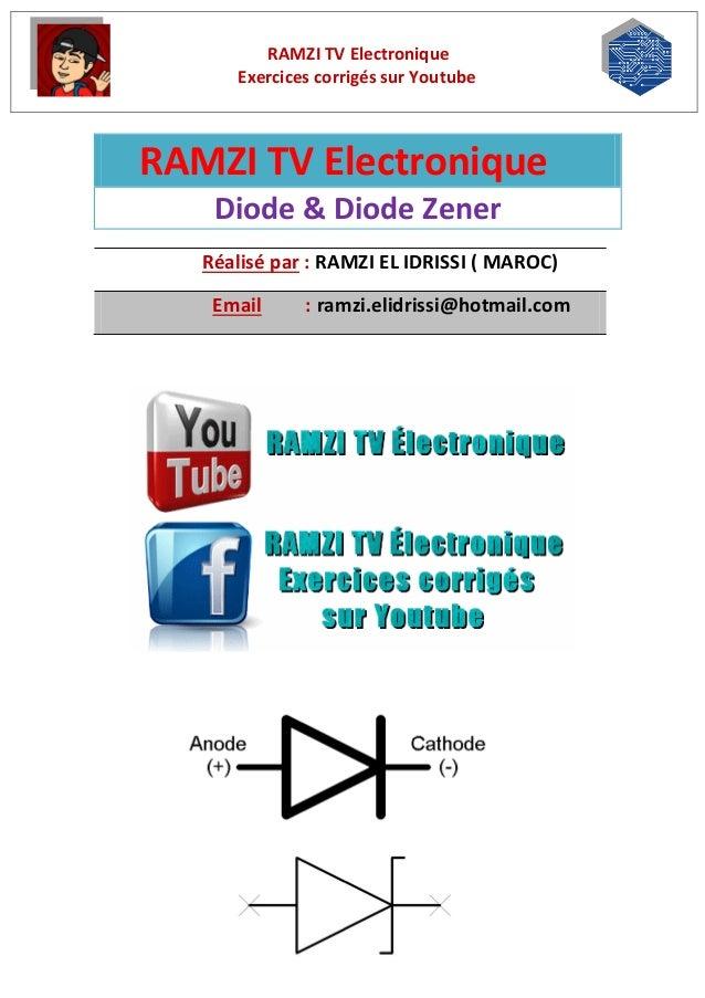 RAMZI TV Electronique Exercices corrigés sur Youtube RAMZI TV Electronique Diode & Diode Zener Réalisé par : RAMZI EL IDRI...