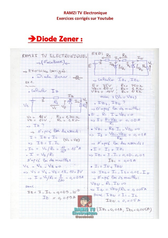 diode  u0026 diode zener   exercices corrig u00e9s