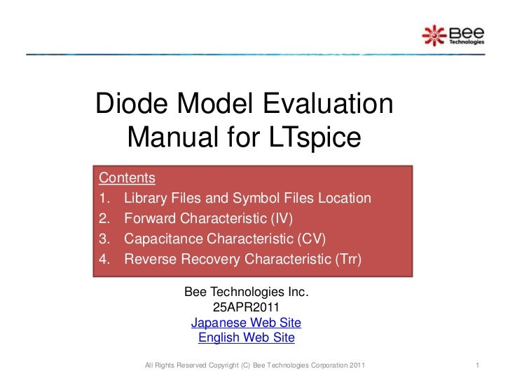 Diode Model Evalation Manual for LTspice