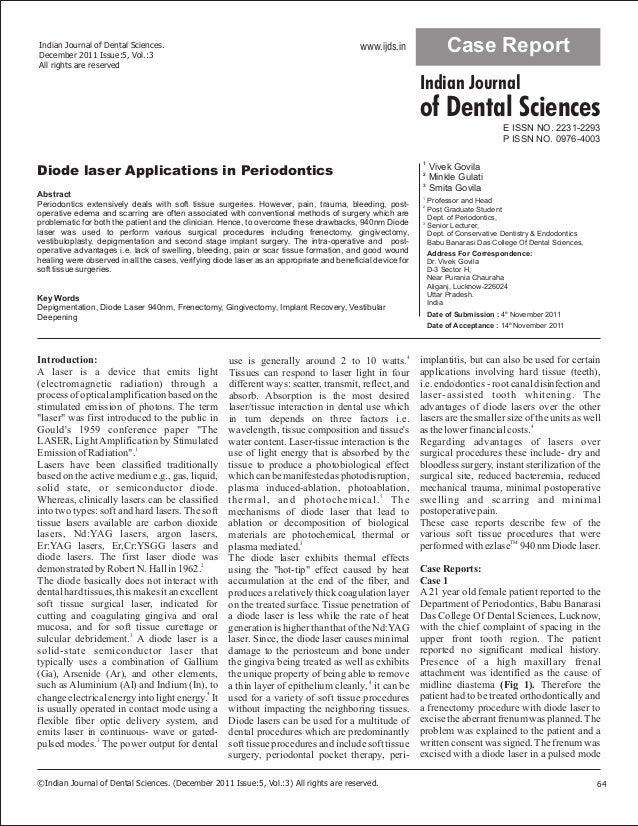 Indian Journal of Dental Sciences. December 2011 Issue:5, Vol.:3 All rights are reserved www.ijds.in Case Report of Dental...