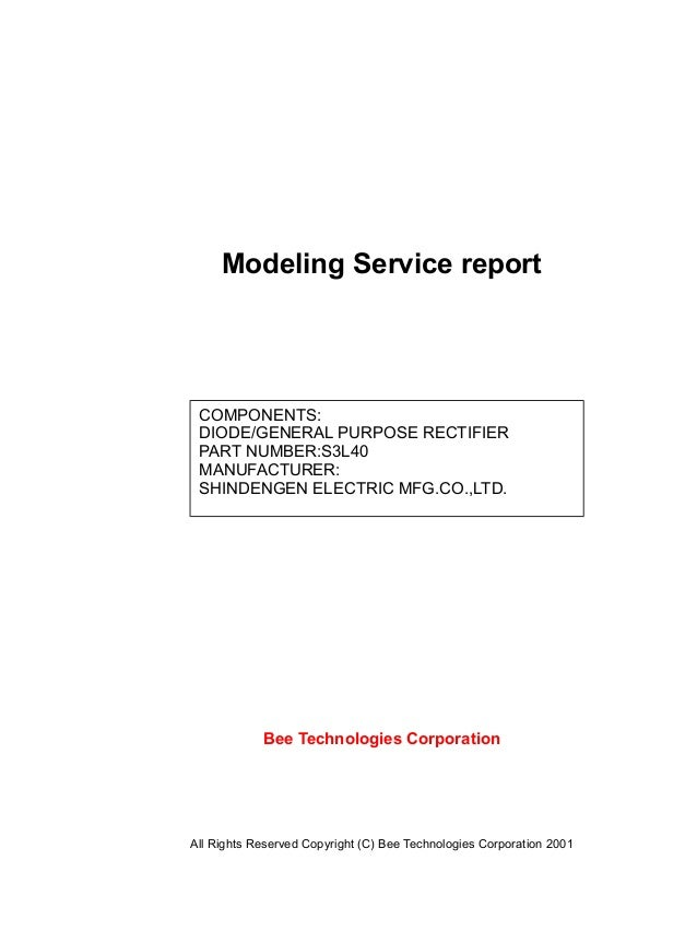 Modeling Service report Bee Technologies Corporation All Rights Reserved Copyright (C) Bee Technologies Corporation 2001 C...