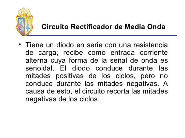 Circuito Rectificador De Media Onda : Diodo zener