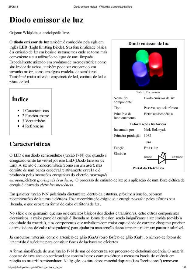 23/06/13 Diodo emissor de luz – Wikipédia, a enciclopédia livrehttps://pt.wikipedia.org/wiki/Diodo_emissor_de_luz 1/6Diodo...