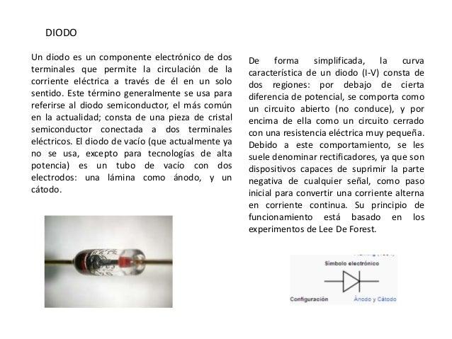 DIODOUn diodo es un componente electrónico de dos        De forma simplificada,           la curvaterminales que permite l...