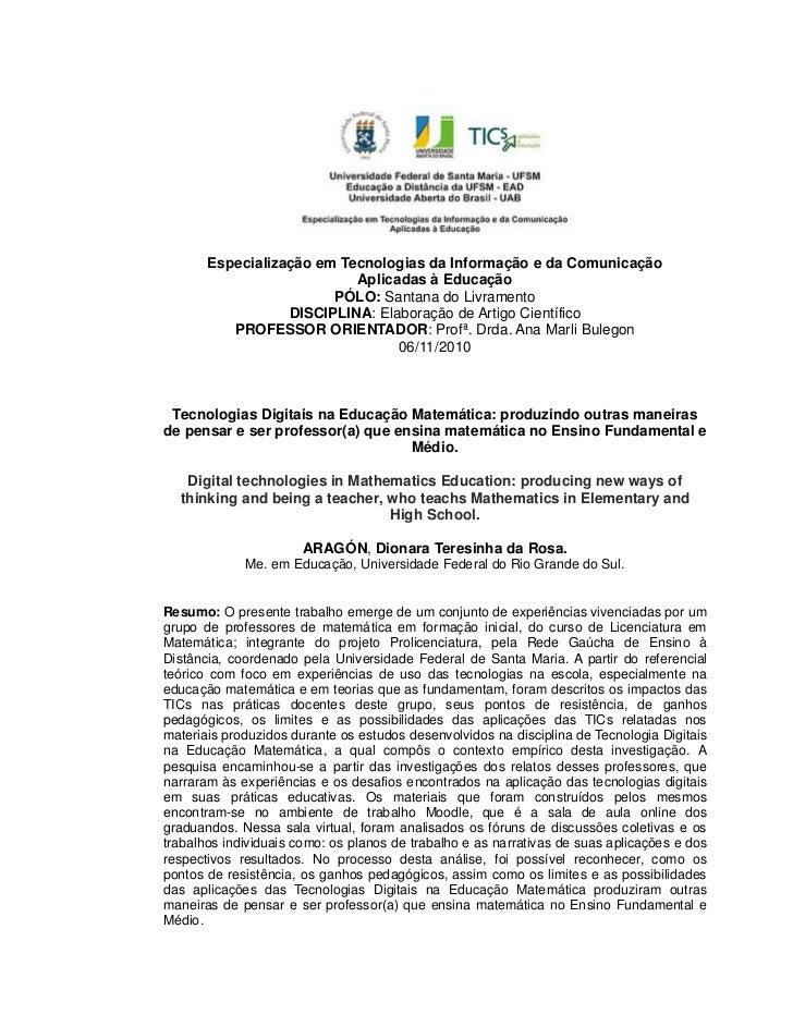 Especialização em Tecnologias da Informação e da Comunicação                           Aplicadas à Educação               ...