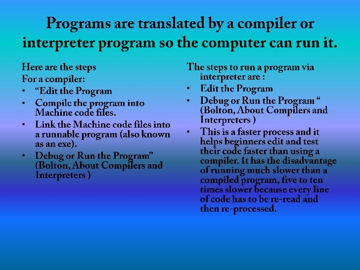 Programs are translated by a compiler or interpreter program so the computer can run it.<br />Here are the steps <br />For...