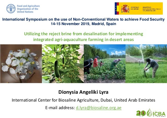 Utilizing the reject brine from desalination for implementing integrated agri-aquaculture farming in desert areas Dionysia...