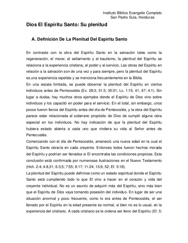 Instituto Bíblico Evangelio Completo                                                        San Pedro Sula, HondurasDios E...