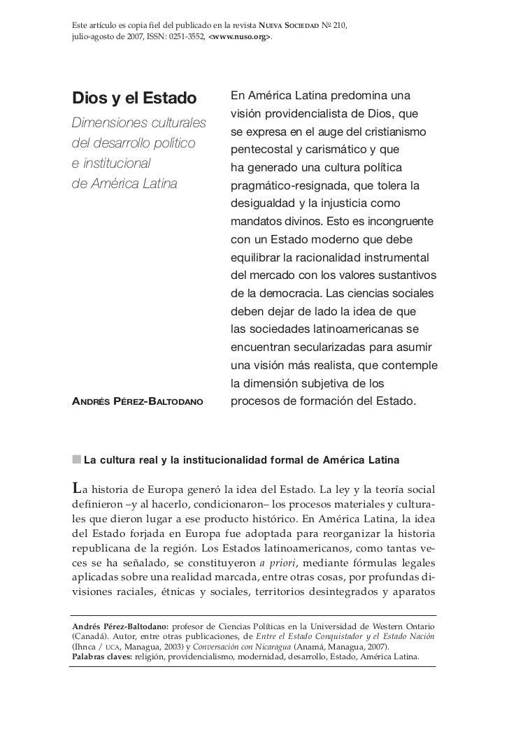 Este artículo es copia fiel del publicado en la revista NUEVA SOCIEDAD No 210,julio-agosto de 2007, ISSN: 0251-3552, <www....