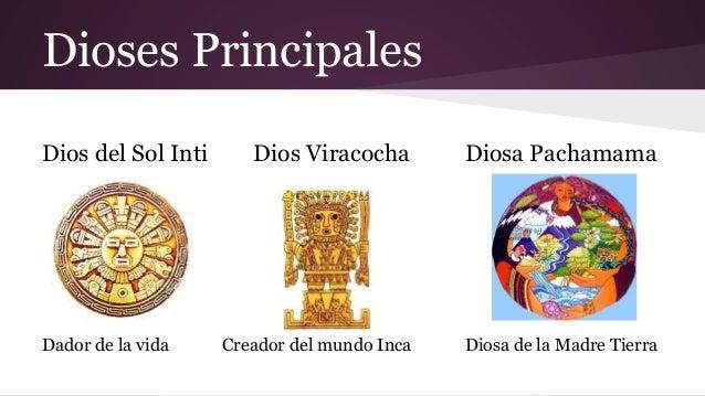Dioses Principales Dios del Sol Inti  Dador de la vida  Dios Viracocha  Diosa Pachamama  Creador del mundo Inca  Diosa de ...