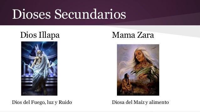 Dioses Secundarios Dios Illapa  Dios del Fuego, luz y Ruido  Mama Zara  Diosa del Maíz y alimento
