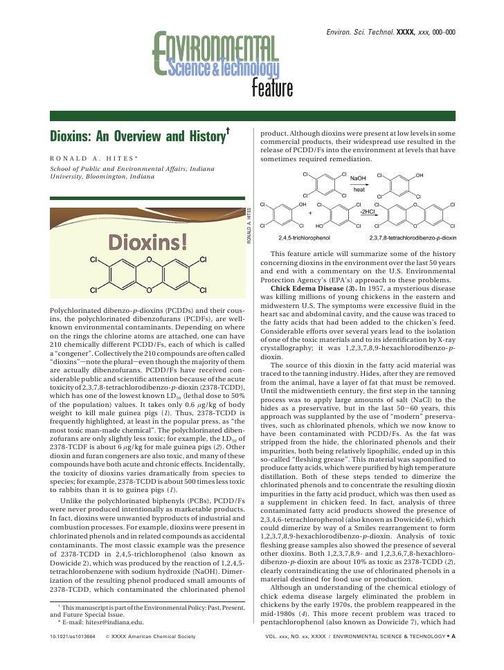 Environ. Sci. Technol. XXXX, xxx, 000–000     Dioxins: An Overview and History†                                           ...