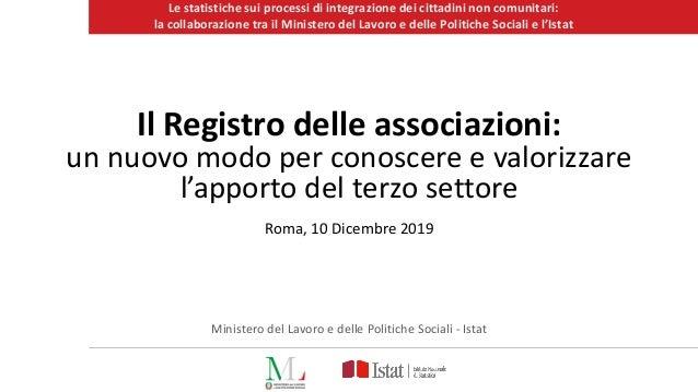 Le statistiche sui processi di integrazione dei cittadini non comunitari: la collaborazione tra il Ministero del Lavoro e ...