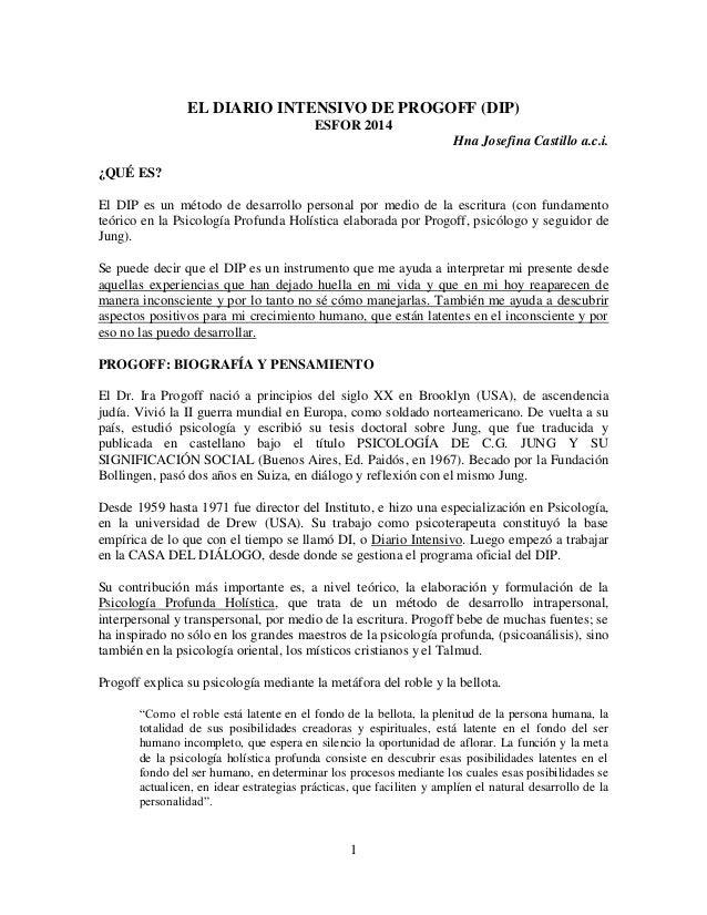 1 EL DIARIO INTENSIVO DE PROGOFF (DIP) ESFOR 2014 Hna Josefina Castillo a.c.i. ¿QUÉ ES? El DIP es un método de desarrollo ...