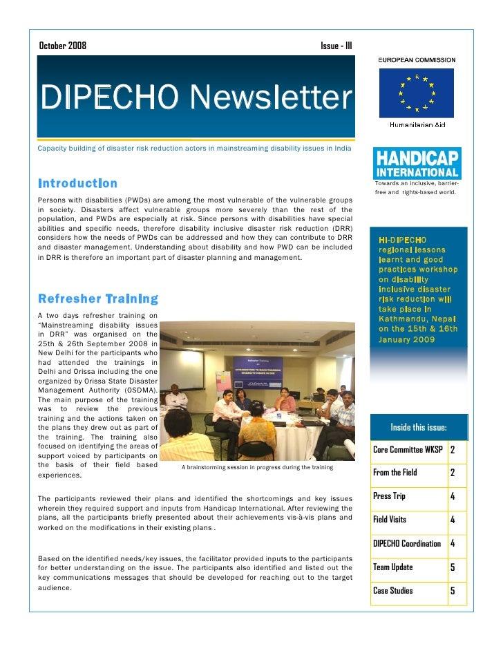 October 2008                                                                                 Issue - III     DIPECHO Newsl...