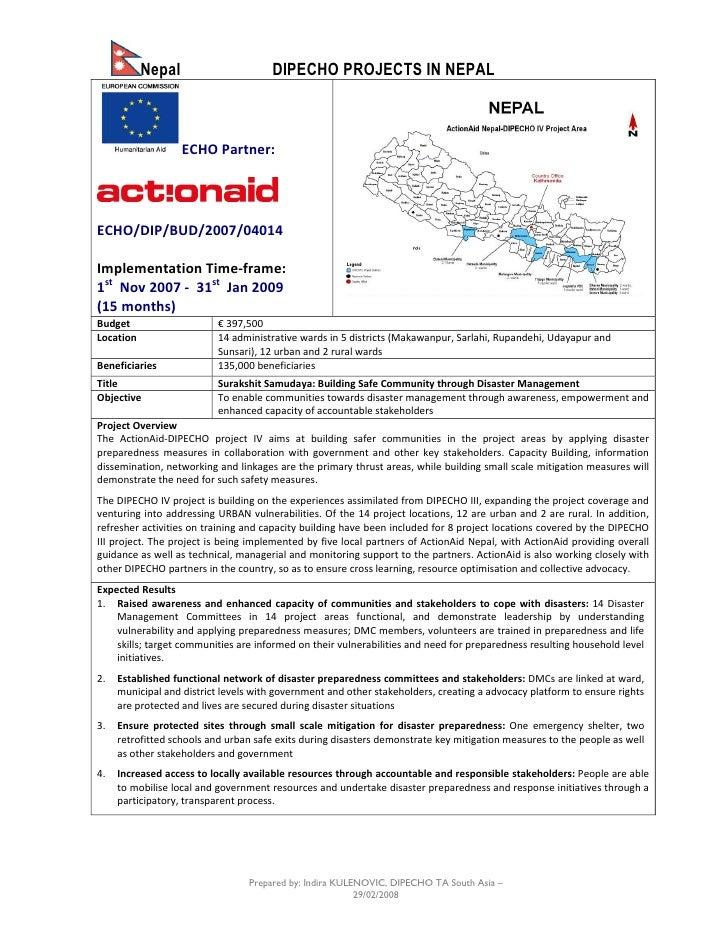 Nepal                      DIPECHO PROJECTS IN NEPAL                       ECHO Partner:     ECHO/DIP/BUD/2007/04014  Impl...