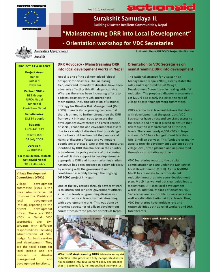 Dipecho v aan vdc secretary drr orientation workshop report