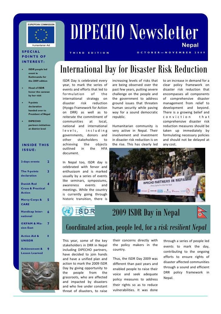 Dipecho v news letter  3rd edition- nov 2009