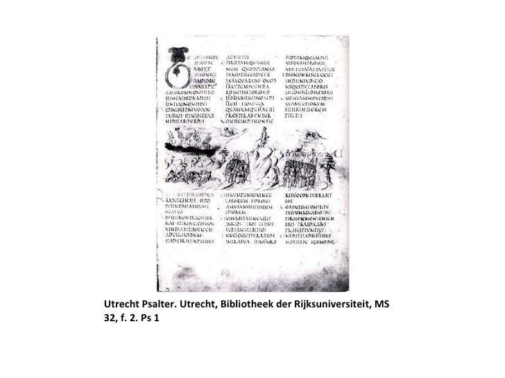 Utrecht Psalter. Utrecht, Bibliotheek der Rijksuniversiteit, MS 32, f. 2. Ps 1