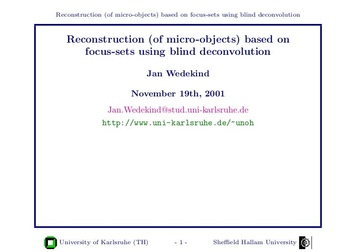 Reconstruction (of micro-objects) based on focus-sets using blind deconvolution   Reconstruction (of micro-objects) based ...