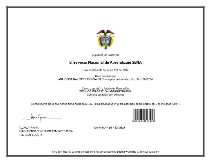 República de Colombia                                        El Servicio Nacional de Aprendizaje SENA                     ...