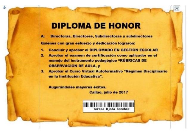 Diploma de Honor 2017 a directoras, directores, subdirectoras y subdirectores