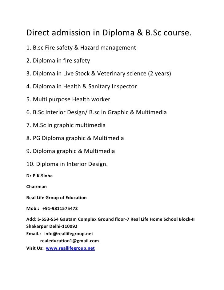 Direct admission in Diploma & B.Sc course.1. B.sc Fire safety & Hazard management2. Diploma in fire safety3. Diploma in Li...