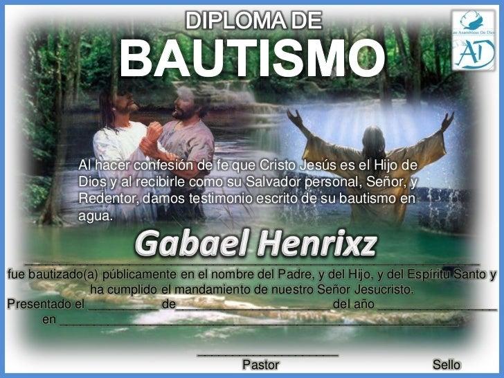 diploma bautismo