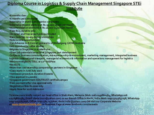 Diploma course in logistics & supply chain management ...