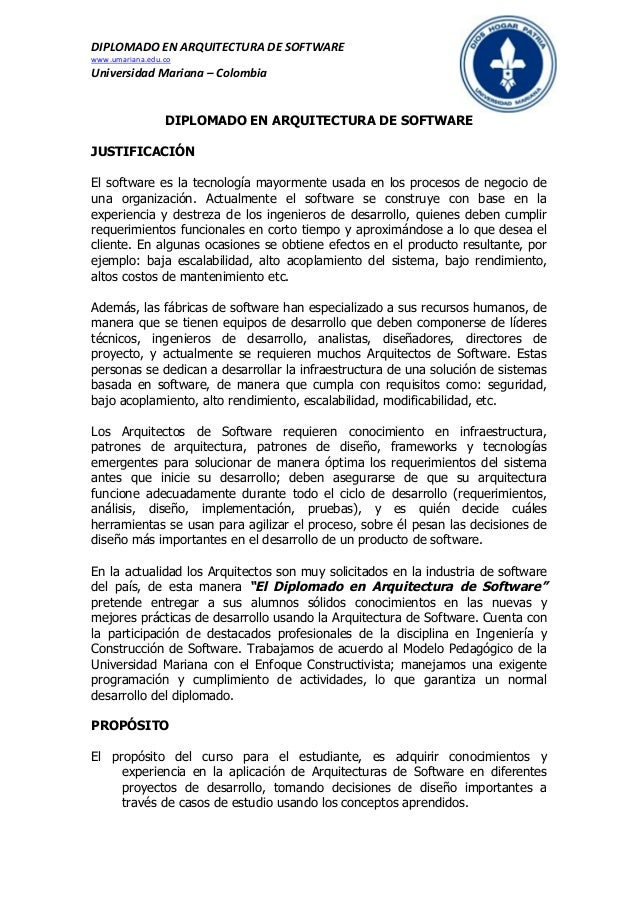 Diplomado en arquitectura de software v1 3 for Especializacion arquitectura de software