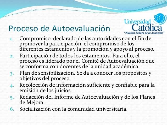 Proceso de Autoevaluación 1. Compromiso declarado de las autoridades con el fin de promover la participación, el compromis...