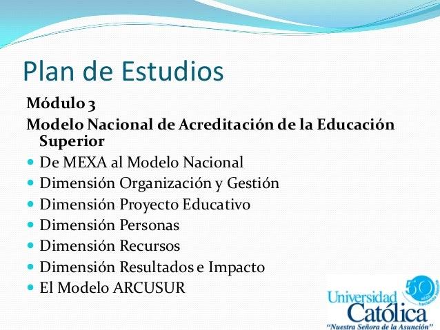 Plan de Estudios Módulo 3 Modelo Nacional de Acreditación de la Educación Superior  De MEXA al Modelo Nacional  Dimensió...