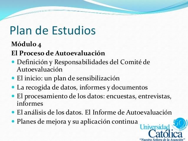 Plan de Estudios Módulo 4 El Proceso de Autoevaluación  Definición y Responsabilidades del Comité de Autoevaluación  El ...