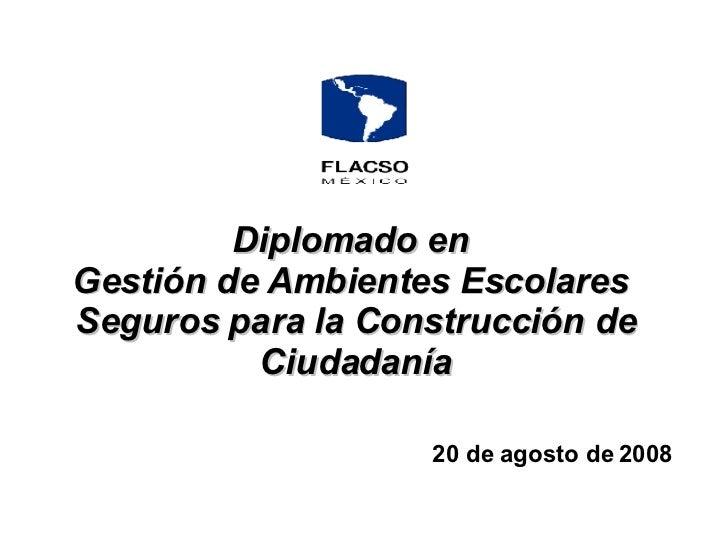 Diplomado en   Gestión de Ambientes Escolares  Seguros para la Construcción de Ciudadanía 20 de agosto de 2008