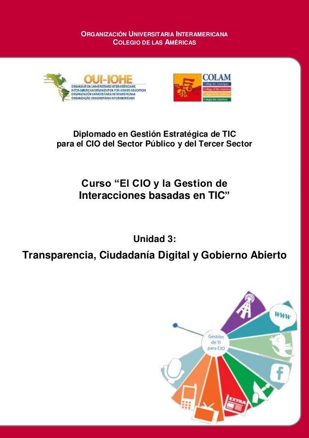 ORGANIZACIÓN UNIVERSITARIA INTERAMERICANA COLEGIO DE LAS AMÉRICAS Diplomado en Gestión Estratégica de TIC para el CIO del ...