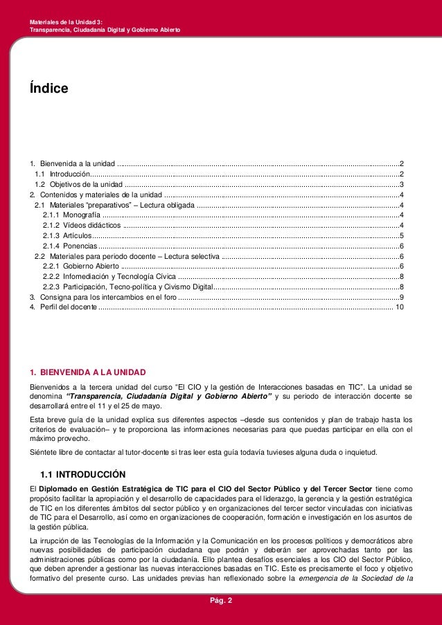 Guía de la Unidad 3 - Transparencia, Ciudadanía Digital y Gobierno Abierto Slide 2