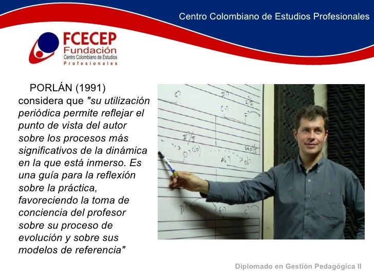 """Diplomado en Gestión Pedagógica II  PORLÁN (1991) considera que  """"su utilización periódica permite reflejar el pu..."""