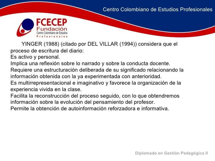 Diplomado en Gestión Pedagógica II   YINGER (1988) (citado por DEL VILLAR (1994)) considera que el proceso de escri...
