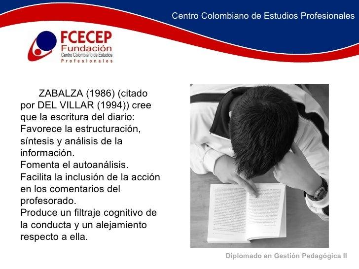 Diplomado en Gestión Pedagógica II   ZABALZA (1986) (citado por DEL VILLAR (1994)) cree que la escritura del diario...