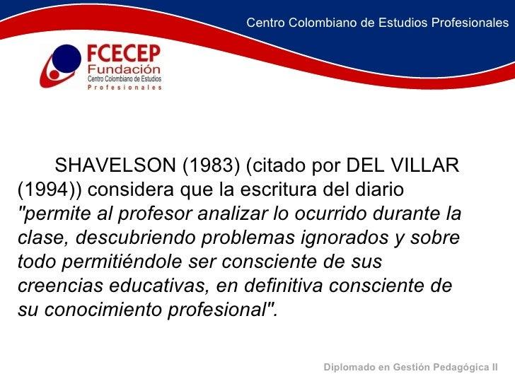 Diplomado en Gestión Pedagógica II     SHAVELSON (1983) (citado por DEL VILLAR (1994)) considera que la escritur...