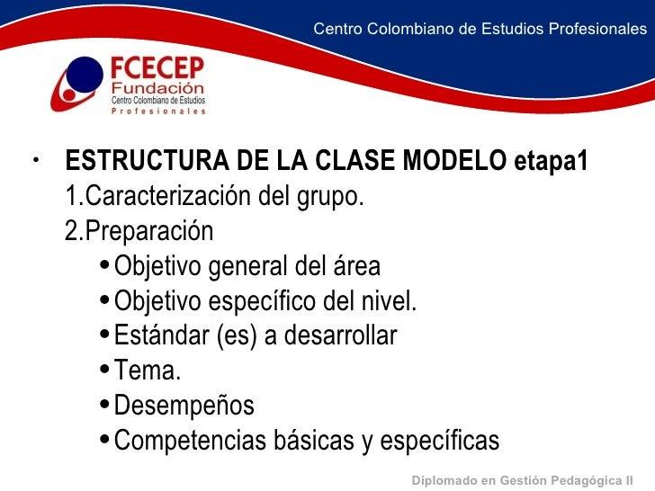 Diplomado en Gestión Pedagógica II <ul><li>    </li></ul><ul><li>   ESTRUCTURA DE LA CLASE MODELO etapa1 </l...